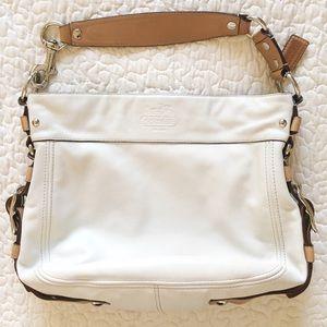 White Coach Hobo Bag with Tan Strap